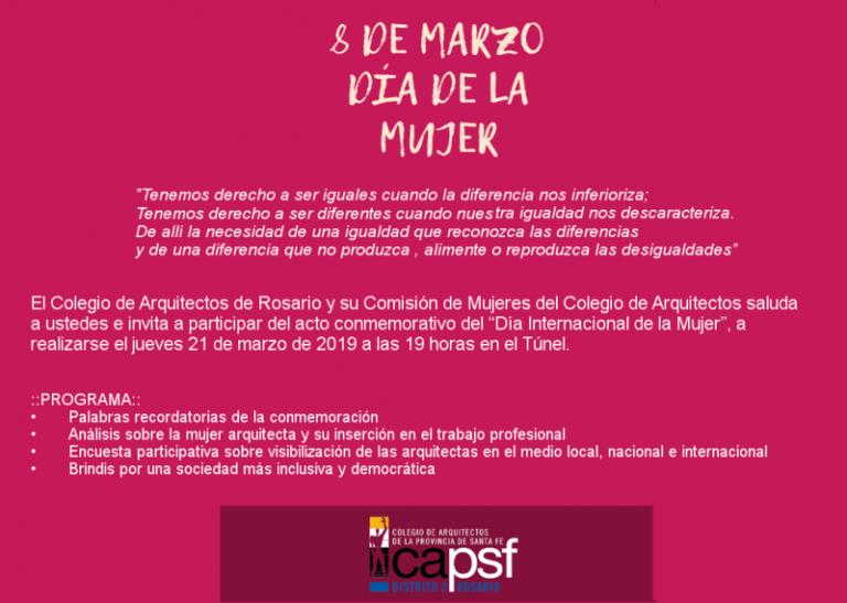 """Invitación al  acto conmemorativo del """"Día Internacional de la Mujer"""""""