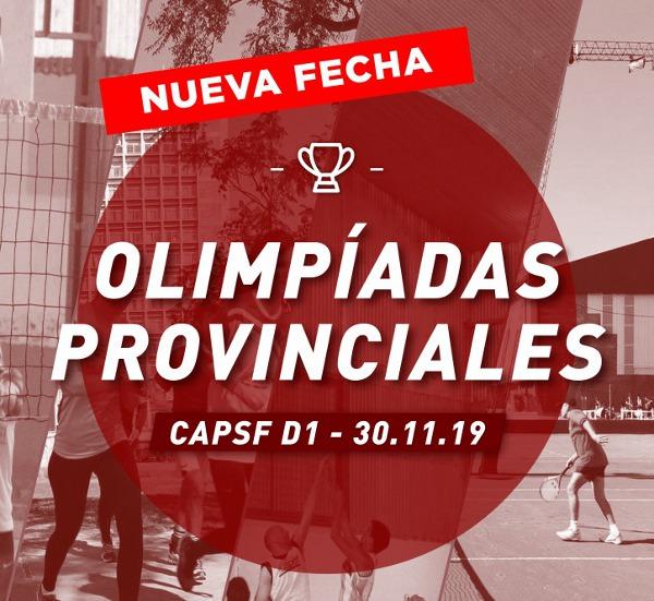 Olimpíadas Provinciales 2019 – CAPSF D1 – CAMBIO DE FECHA